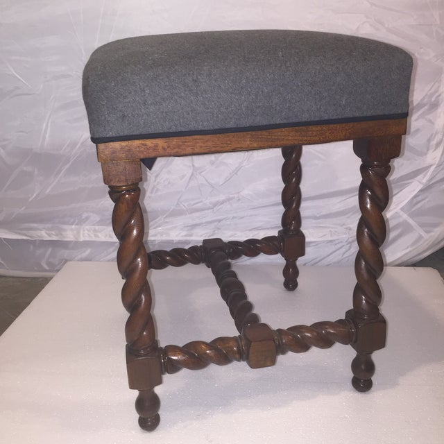 Image of Spindle Wood Bench with Gray Flannel Cushion