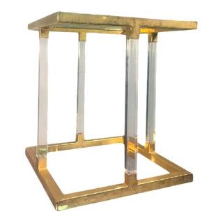 Charles Hollis Jones Lucite & Brass Accent Table