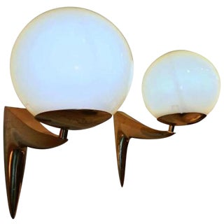 Pair of Mid Century Gilt Brass Wall Sconces in the style of Stilnovo, Two Pairs Available, Italy circa 1960