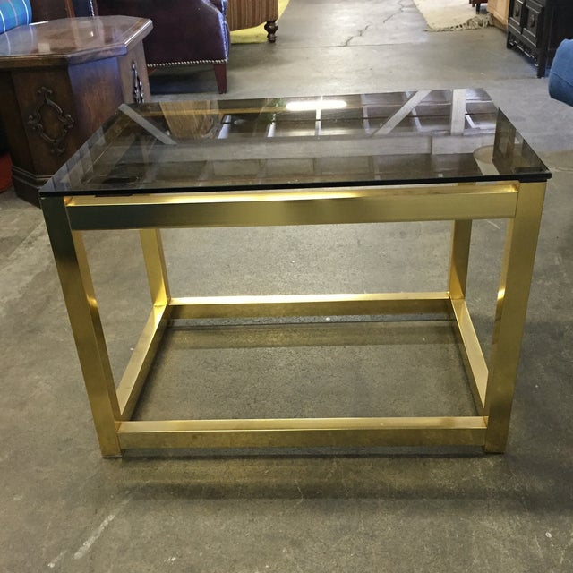 Vintage Modern Brass Side Table - Image 2 of 6
