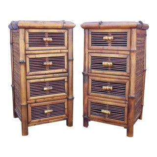Bamboo Chests of Drawers / Nightstands - A Pair