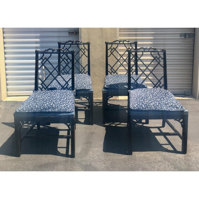Image of Chinese Chippendale Upholstered Chairs - Set of 4
