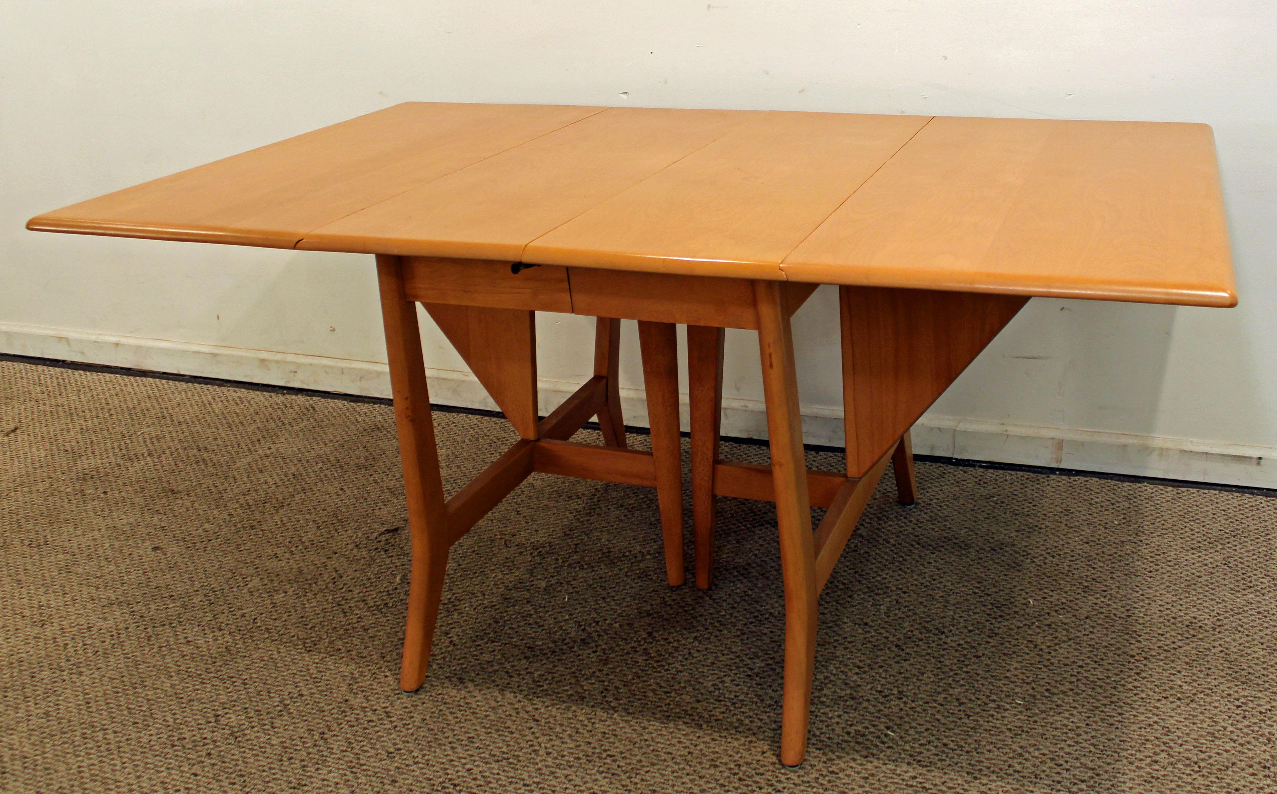 Heywood Wakefield Mid Century Danish Drop Leaf Dining Table   Image 3 Of 11