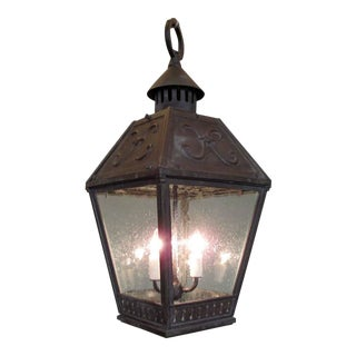 19th Century American Bronze Gas Lantern with Seed Glass