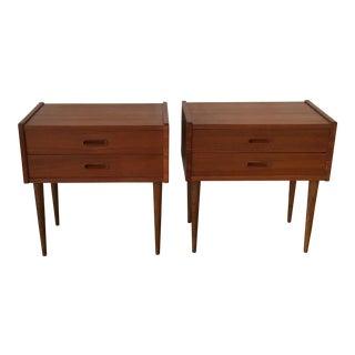 Danish Modern Teak Bedside Tables - A Pair