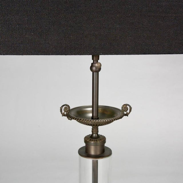 Belgium Custom Glass Column Lamps With Bronze Tazza - A Pair - Image 4 of 7