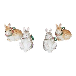 Fitz and Floyd Bunny Rabbit Shakers - Set of 4