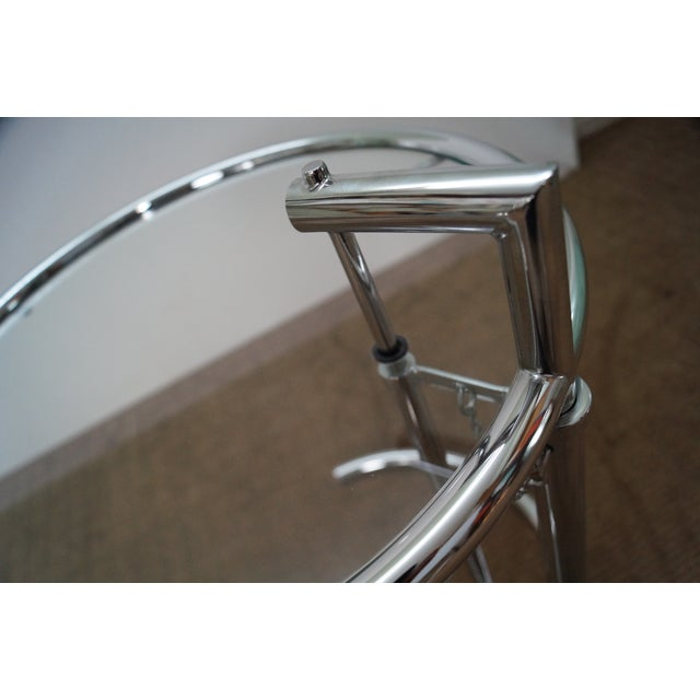 Image of Eileen Gray Adjustable Chrome & Glass Side Table