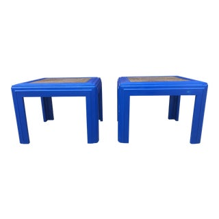 Lane Navy Blue and Gold Wood & Glass Top Side Tables - A Pair