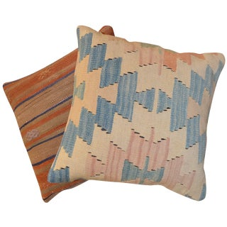 Antique Turkish Kilim Rug Pillow Covers - A Pair