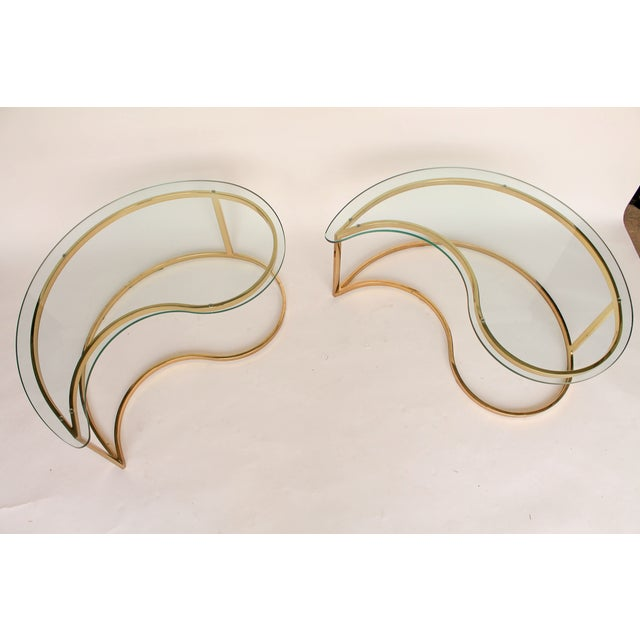 Yin Yang Brass & Glass Side Tables - A Pair - Image 5 of 7