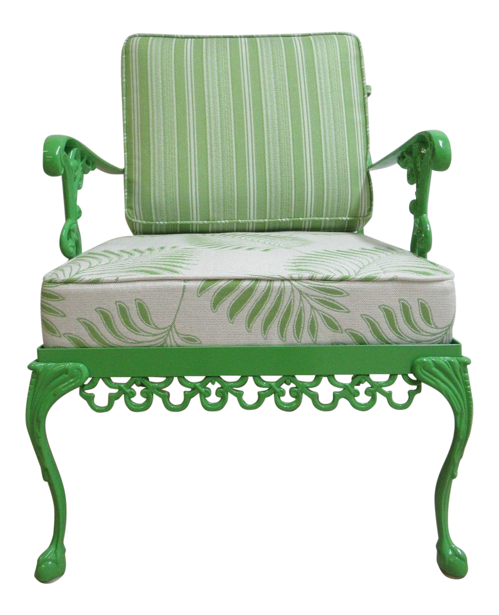 Vintage Green Aluminum Chippendale Ball U0026 Claw Patio Chair