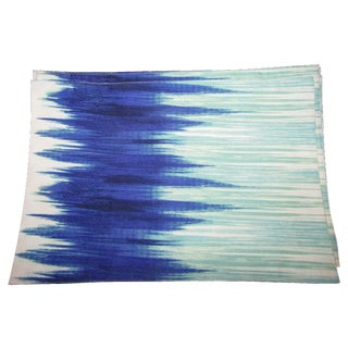 Tourquoise, Blue,& White Ikat Cotton Placemats - 8