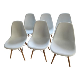 Mid-Century Modern White Dining Room Chairs - Set of 6