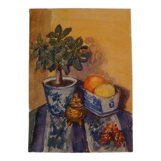 Chinoiserie Citrus Topiary Still Life Painting