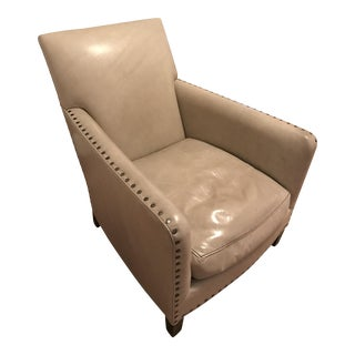 Upholstered Leather Chair in Manchester Taupe