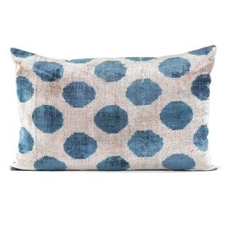 Silk Velvet Blue Polka Dot Ikat Pillow