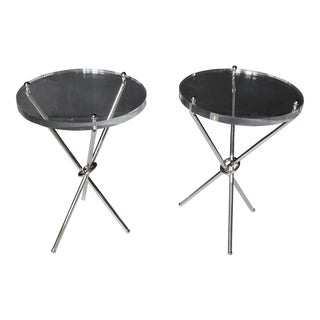 Campaign Style Chrome & Lucite Side Tables - A Pair