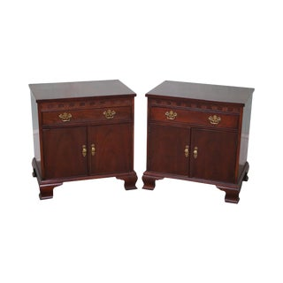 Baker Chippendale Mahogany Nightstands - A Pair