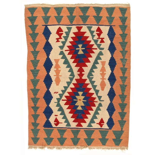 Reversible Turkish Kilim Rug - 4' X 6'