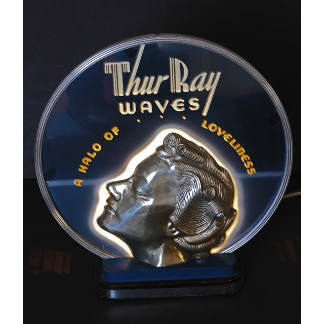 ON HOLD Original Art Deco Machine Age Lighted & Cobalt Mirrored Thur Ray 1940's Advertising Sign - Image 5 of 10