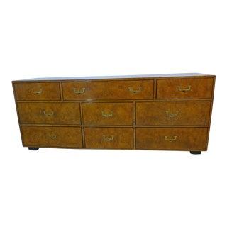 John Widdicomb Burled Olivewood 9 Draw Campaign Dresser