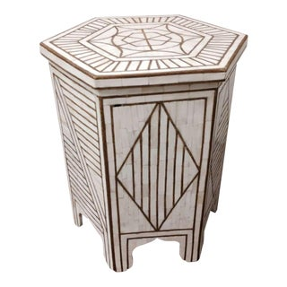 Pair Bone and Brass Hexagonal Moorish Side Table with Brass Inlay