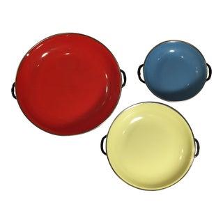 Vintage Mid-Century Enamel Kitchen Bowls - Set of 3