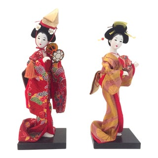 Mid-Century Japanese Handcrafted Female Kimono Figurines - A Pair