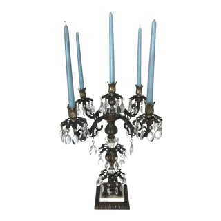 Crystal Pendant Five Arm Candelabra