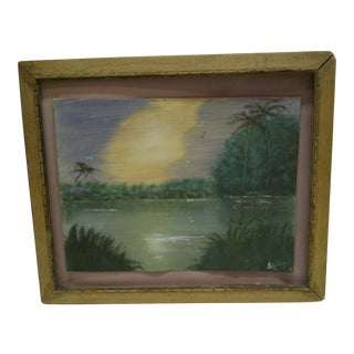 "Original Painting on Paper - ""Sunset"" by Sally, 1940"