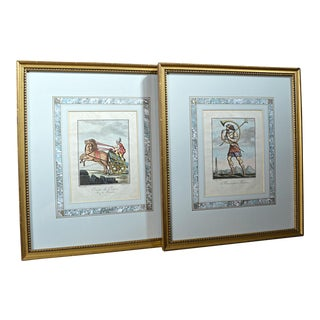 French 18th Century Gladiator Engravings- A Pair