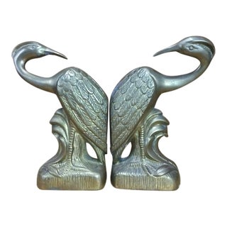 Vintage 1960s Heavy Brass Swan Bookends - A Pair
