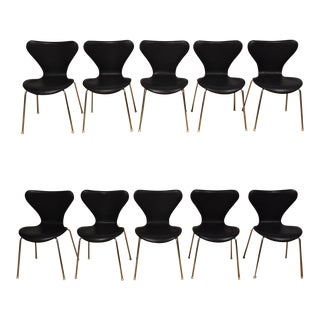 Black Leather and Chrome Dining Chairs - Set of 10