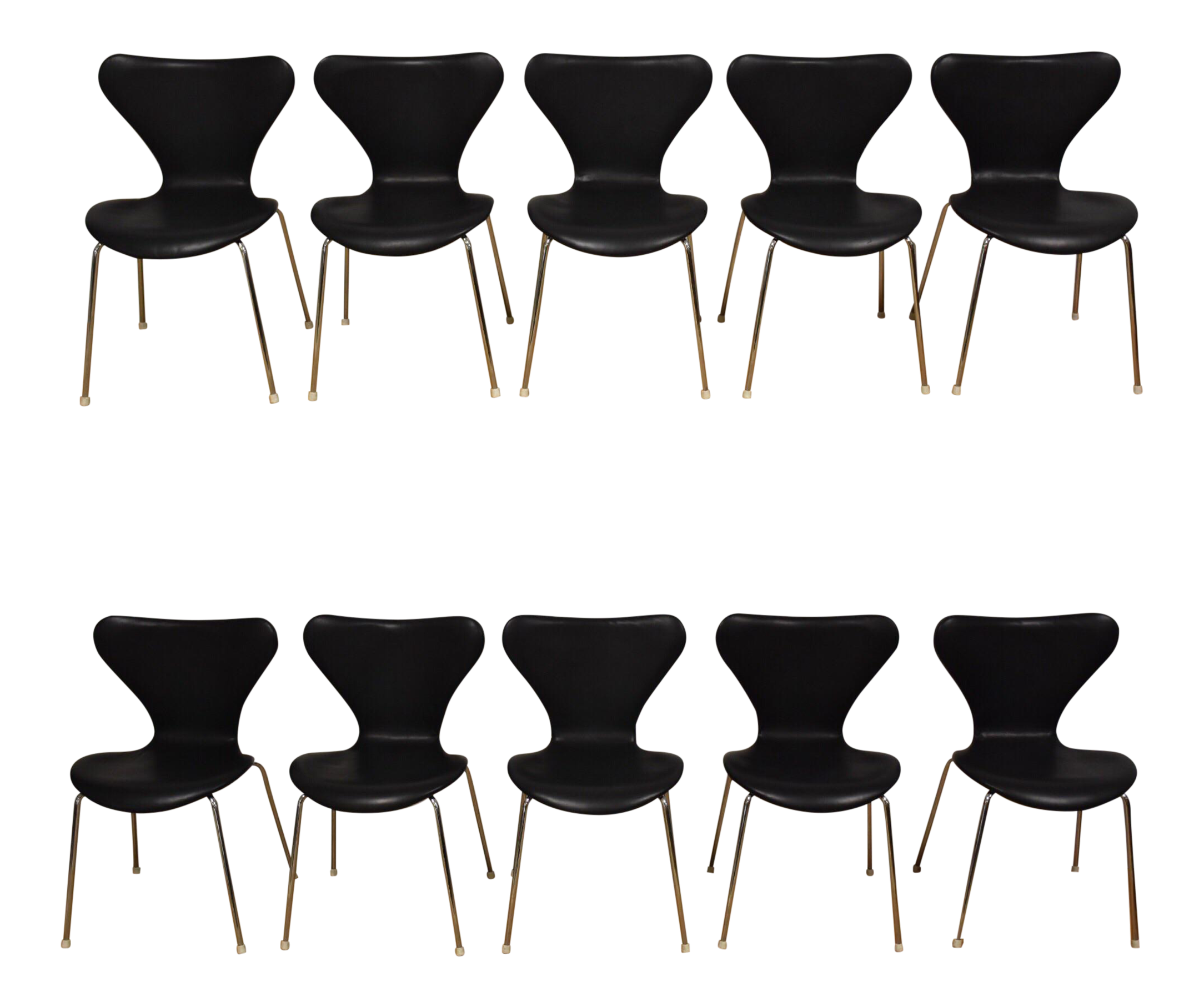 Black Leather And Chrome Dining Chairs   Set Of 10