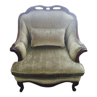 Re-Upholstrered Accent Chair in Sage Green Antique Velvet