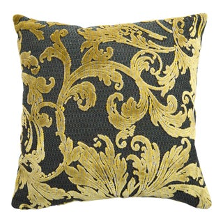 Italian Damask Green and Gold Pillow