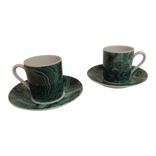 Vintage Malachite Porcelain Demitasse Set