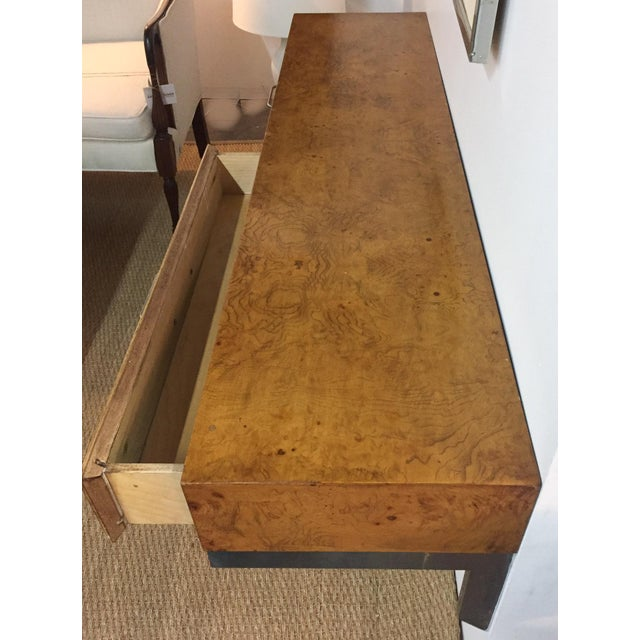 Mid-Century Burlwood Floating Console Table, Desk - Image 5 of 10