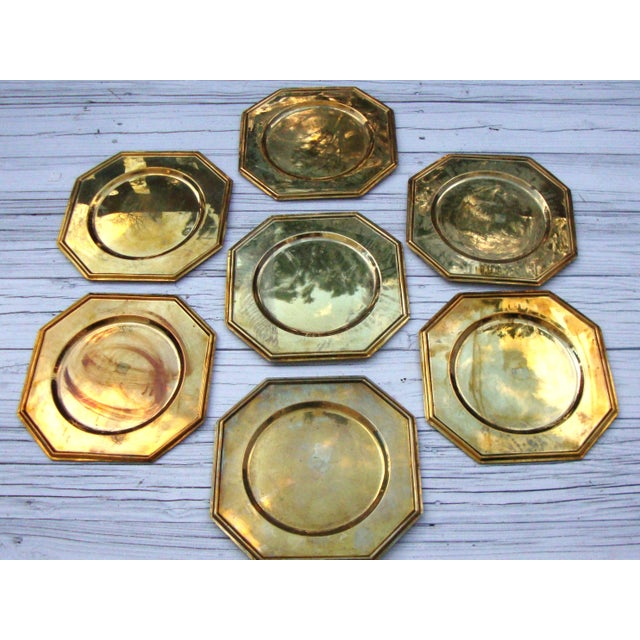 Vintage Solid Brass Hexagon Charger Plates - 6 - Image 5 of 7