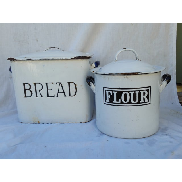 Image of 1930's English Enamel Bread Bin