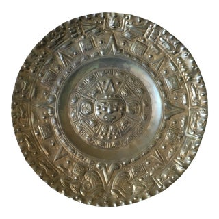 Vintage Solid Brass Mayan Tray