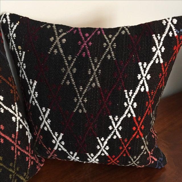 Vintage Kilim Throw Pillows - Pair - Image 4 of 6