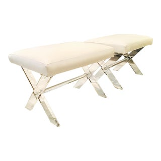 White Leather Lucite X Benches - A Pair