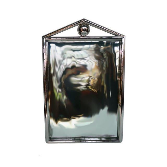 Image of 1980's Chrome Mirror With Pediment & Ball