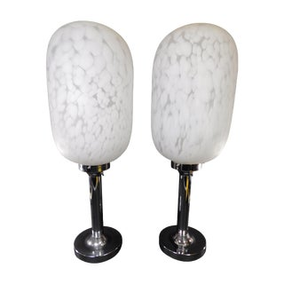 Murano Sculptural Glass & Chrome Lamps - A Pair