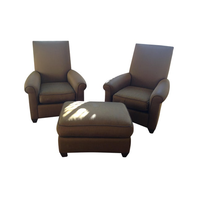 Image of Vintage Donghia Two Club Chairs & Ottoman