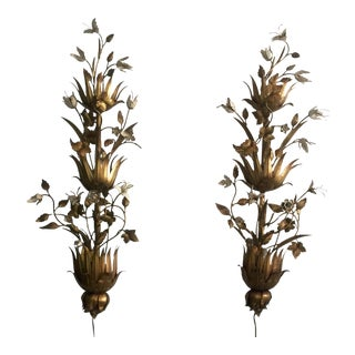 Brass & Enameled Italian Wall Sconces - A Pair