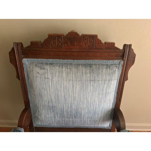 Blue Velvet Eastlake Chair - Image 7 of 9