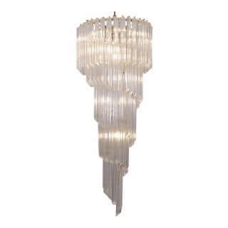 Huge Murano Glass Quadriedri Spiral Chandelier with Gold-Plated Fixture